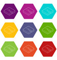 earth crack icons set 9 vector image
