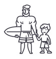father with son on vacation with surfing board vector image vector image