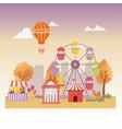 fun fair carnival booth tent balloons air balloon vector image