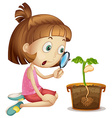 Girl observing plant growing in pot vector image vector image
