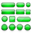 green glass buttons with metal frame collection vector image vector image