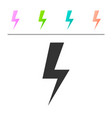 grey lightning bolt icon isolated on white vector image vector image