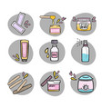 handdrawn hair removal icons set vector image