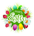 happy easter text greeting card flowers and vector image vector image