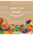 healthy food frame on wood table vector image vector image