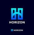 horizon logo blue h letter vector image vector image