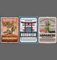 japanese culture and traditions food and temples vector image vector image