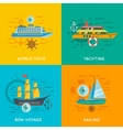 Nautical concept 4 flat icons square vector image vector image