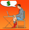 pop art businessman working late at home vector image vector image