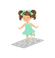 preschool girl playing in jumping hopscotch game vector image vector image
