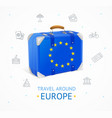 realistic 3d detailed europe travel concept banner vector image