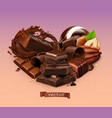 realistic chocolate chocolate bar splash candy vector image