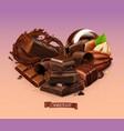 realistic chocolate chocolate bar splash candy vector image vector image