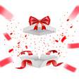 realistic surprise gift box with falling confetti vector image