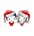 Santa girl and boy sketch for your design vector image vector image