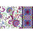 set of seamless floral pattern and border for vector image vector image
