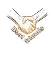 sketch handshake friendship day design vector image