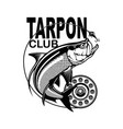 tarpon fishing emblem isolated on white background vector image vector image