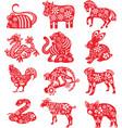 twelve chinese zodiac paper cut vector image