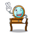 two finger dressing table character cartoon vector image
