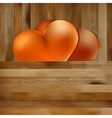 Two hearts on brown wooden background EPS8 vector image vector image