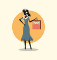 Woman shopping retro