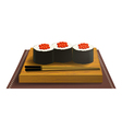Wooden tray with sushi and chopsticks vector image vector image