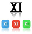xi roman numeral icons colored set with vector image vector image