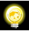yellow world light bulb vector image vector image