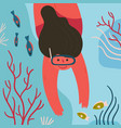 young girl in diver mask explores underwater life vector image vector image