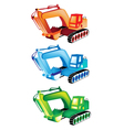 A Colorful Set of Excavator Icons vector image