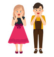 cartoon surprised boy and girl vector image