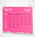 2013 calendar july colorful torn paper vector image vector image
