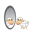 A funny cartoon sheep looking in a mirror vector image