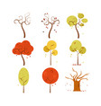 abstract dry autumn tree art design set vector image