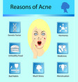 acne reasons skin problems and diseases beauty vector image vector image