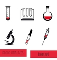 Blood analysis medical icon set vector image