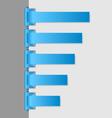 Blue folded paper navigation menu vector image vector image
