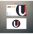 business card template letter U vector image