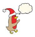 cartoon christmas robin with thought bubble vector image vector image