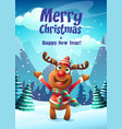 cartoon deer greeting card vector image vector image