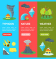 cartoon natural disaster banner vecrtical set vector image vector image