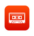 cassette tape icon digital red vector image vector image