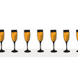 champagne flutes in a row seamless border vector image vector image