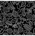 Cute amanita seamless pattern with leaf and berrie vector image vector image