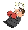 Defeated businessman in boxing gloves vector image