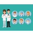doctor medical team workers staff green background vector image vector image