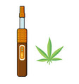 electronic cigarette vaporizer and marijuana leaf vector image