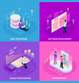 freelancer isometric design concept vector image vector image