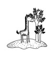 giraffe cartoon next to the trees in black vector image vector image